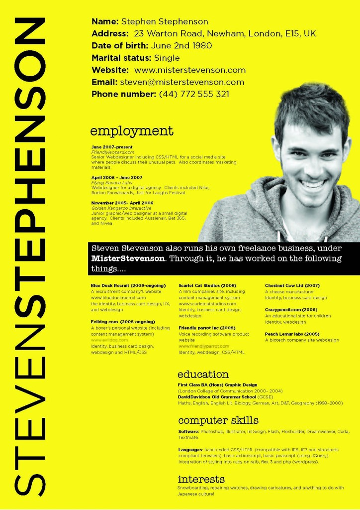 creative resume design ideas